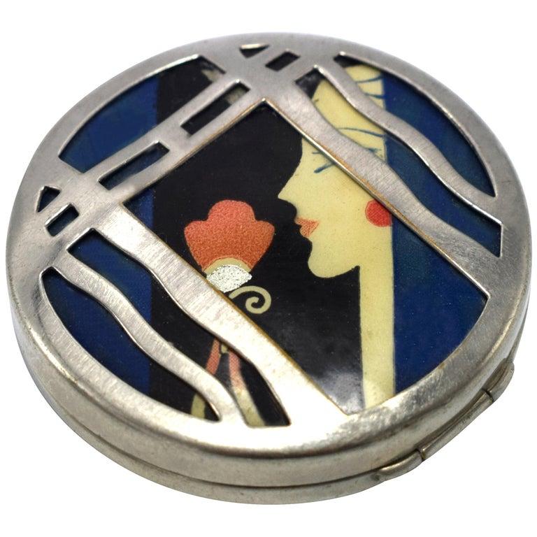 Karess 1920s Art Deco Ladies Powder Compact For Sale