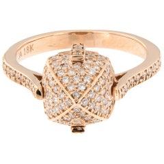 Pretty in Pink 18 Karat Rose Gold Sugarloaf Diamond Ring