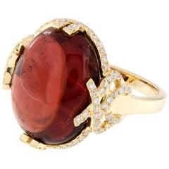 Goshwara G-One Rubelite Diamond 18 Karat Gold Cocktail Ring