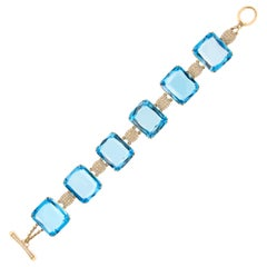 Goshwara Gossip Topaz Diamond 18 Karat Gold Link Bracelet