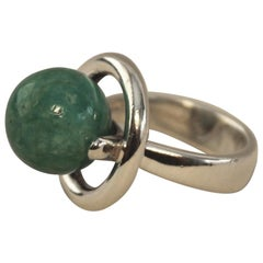 Hans Hansen Sterling Silver Modernist Ring with Amazonite Ball(Size 6)