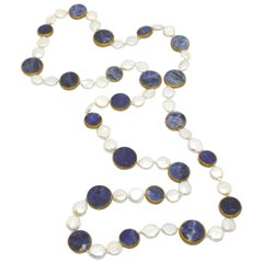 Decadent Jewels Sodalite Fresh Water Pearl in Copper Long Necklace