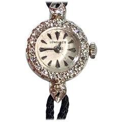 Vintage 14 Karat White Gold and Diamond Longines Ladies Mechanical Watch