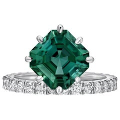 Green Tourmaline Cocktail Ring Asscher Cut Diamond Platinum Ring