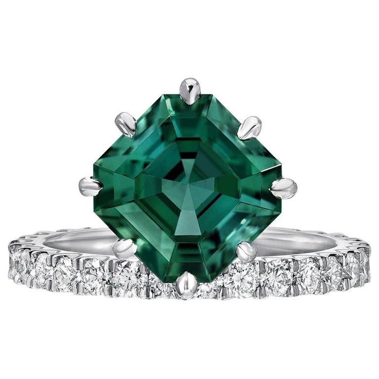 Green Tourmaline Asscher Cut Diamond Platinum Cocktail Ring For Sale