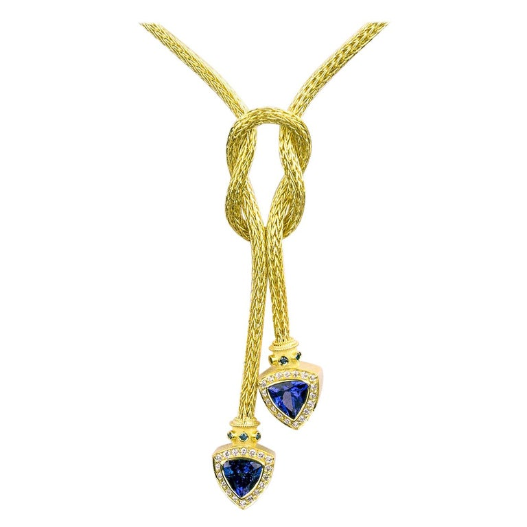 Georgios Collections 18 Karat Gold Hand-Knitted Rope Necklace with Tanzanite For Sale