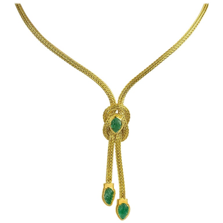 Georgios Collections 18 Karat Gold Pendant Rope Necklace with Emeralds For Sale