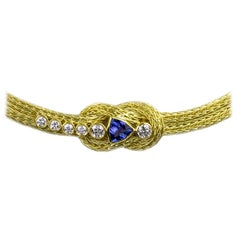 Georgios Collections 18 Karat Yellow Gold Rope Necklace with Knot and Tanzanite