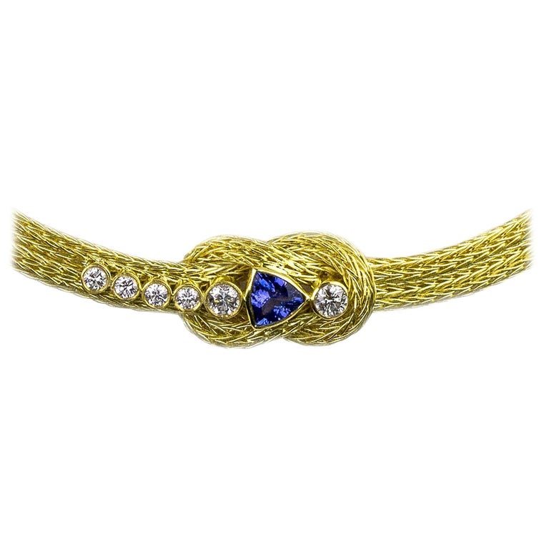 Georgios Collections 18 Karat Yellow Gold Rope Necklace with Knot and Tanzanite For Sale