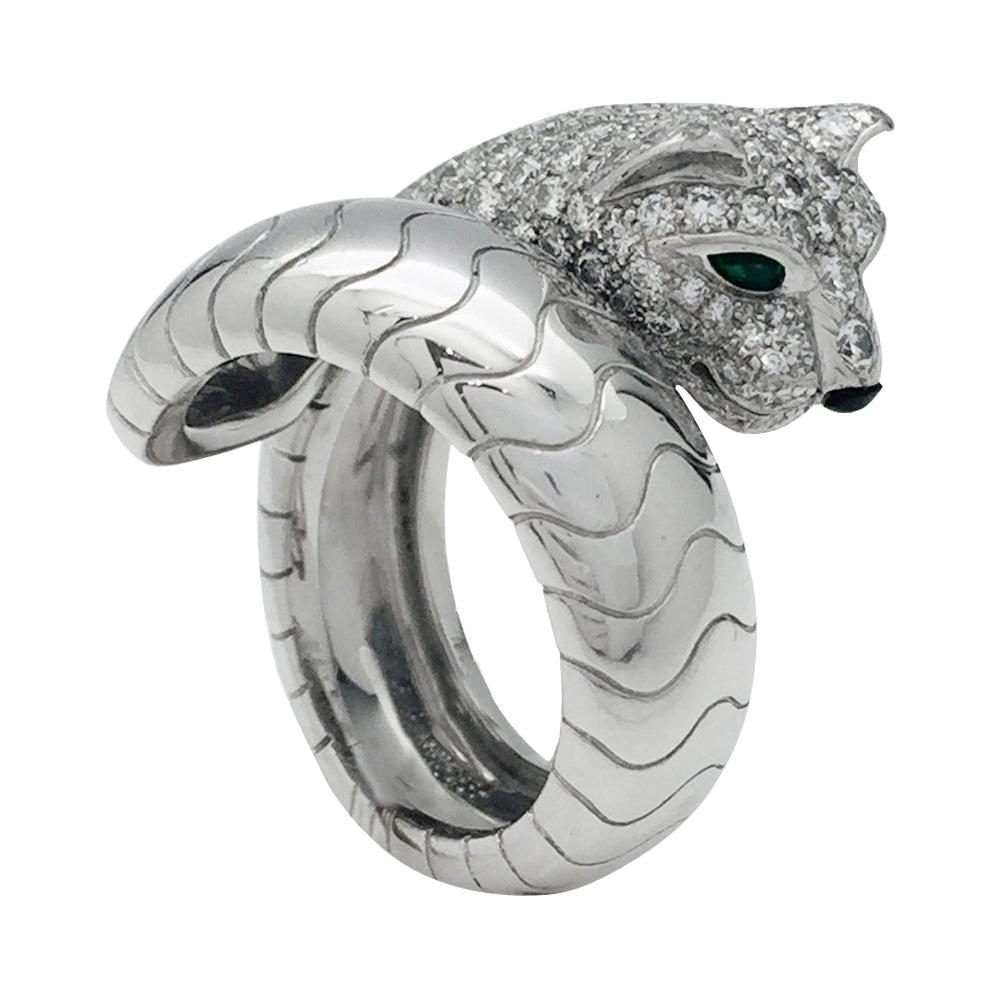 Cartier Panther Ring, Diamonds, Emeralds and Onyx