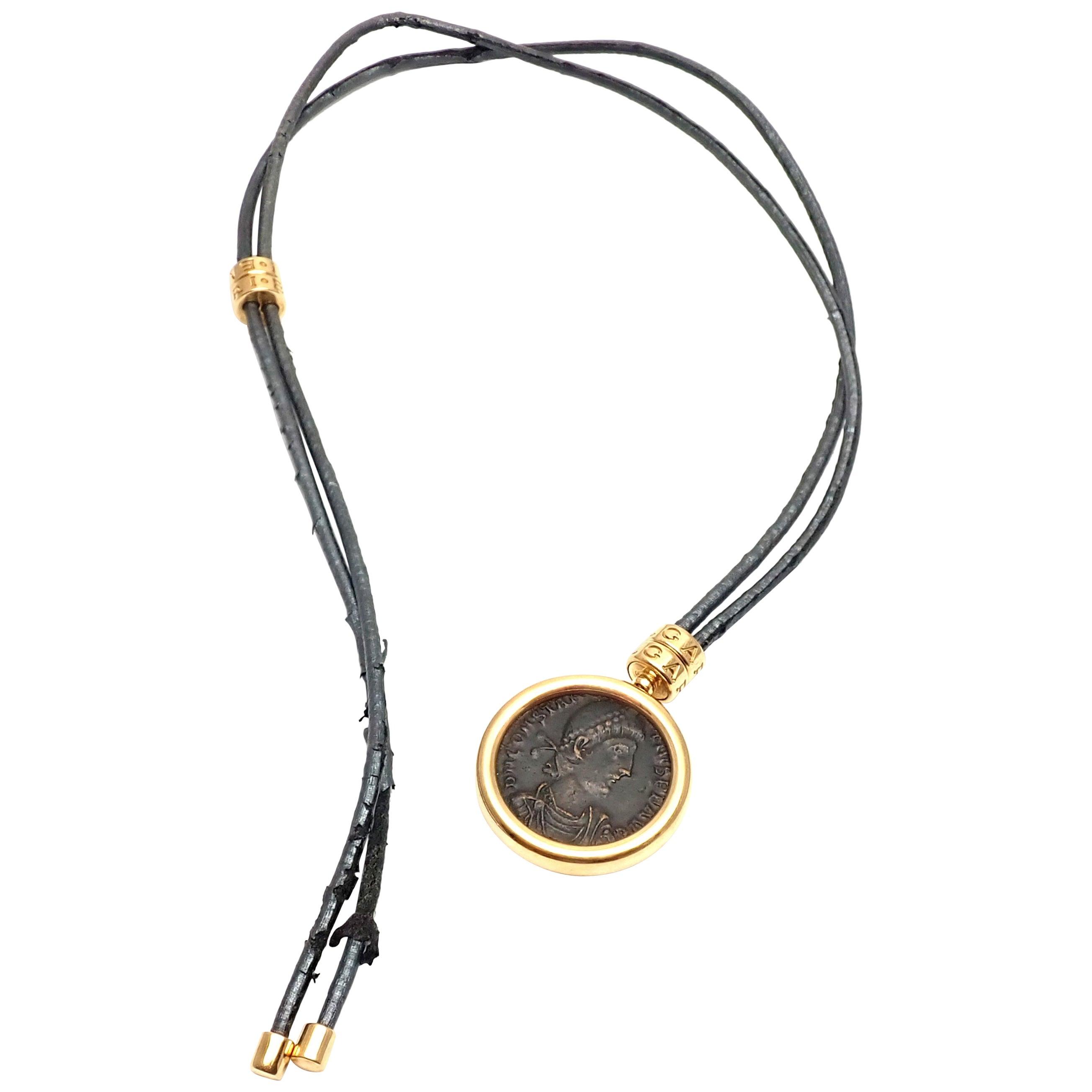 Bulgari Monete Coin Black Lace Yellow Gold Pendant Necklace