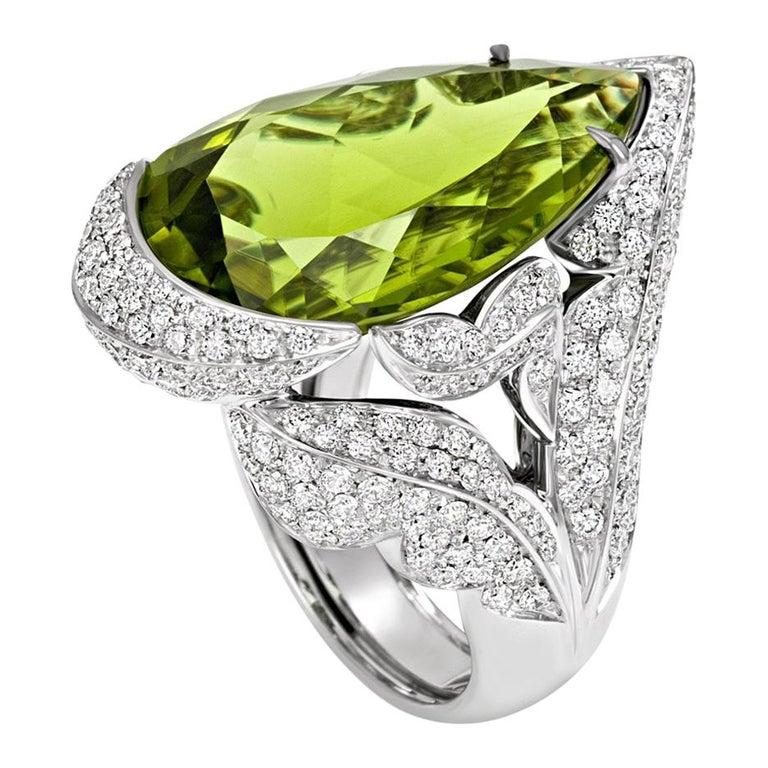 PERIDOT Diamond Pave' 18KT White Gold Made in Italy Ring  For Sale