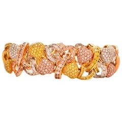 Natural Fancy Pink Yellow and White Diamonds GIA Certified Dress Bracelet