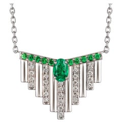 Monseo White Gold Emerald and Diamonds Art Deco Pendant Necklace