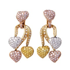 Natural Fancy Pink Yellow & White Diamonds GIA Certified 18-K Gold Earrings