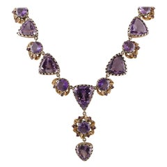 Amethysts, Diamonds, 14 Karat Rose Gold and Silver Necklace