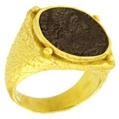 Sacchi Ancient Roman Coin Ring 18 Karat Yellow Gold Monete Ring