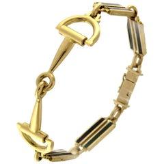 18 Karat Yellow Horsebit Enameled Bracelet