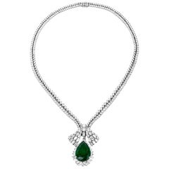 1960s GIA Emerald Diamond Choker Pendant Necklace