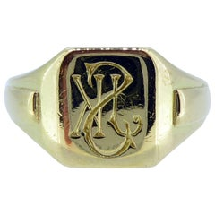 Vintage Gold Signet Ring, Initialled Engraved Seal, 18 Carat, Birmingham 1935