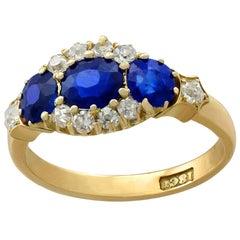 Antique 1.50 Carat Sapphire and Diamond Yellow Gold Dress Ring