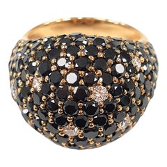 Black Diamond Constellation Dome Cocktail Ring in Rose Gold