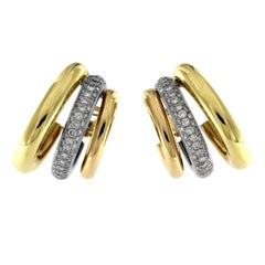 3-Color 18 Karat Earrings with Diamonds