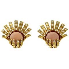 18 Karat Yellow Earrings with Diamonds and Angel Skin Coral