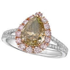 GIA Certified 2 Carat Fancy Grayish Greenish Yellow Diamond Ring
