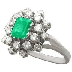 1950s 1.24 Carat Emerald and 1.15 Carat Diamond Cocktail Ring