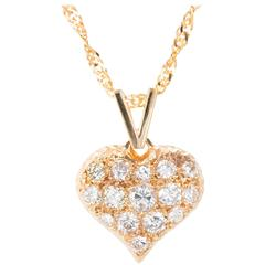 Pave Graduated Diamond Gold Domed Heart Pendant Necklace