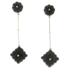 Onyx 18 Karat White Gold Diamonds Drop Earrings