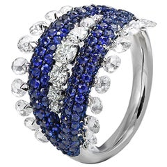 Studio Rêves Rose Cut Diamonds and Blue Sapphire Dome Ring in 18 Karat Gold