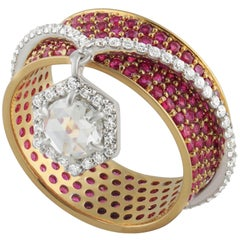 Studio Rêves 0.52 Carat Rose cut Diamonds and Ruby Band Ring in 18 Karat Gold