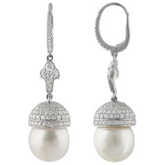 Studio Rêves Diamond and South Sea Pearls Earrings in 18 Karat Gold
