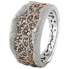 Studio Rêves Rose Cut and Brilliant Cut Diamond Carpet Cuff Bracelet in 18K Gold