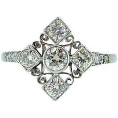 0.53 Carat Vintage Diamond Ring, Marquise Shaped Cluster, Old Cut Diamonds