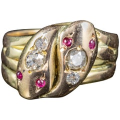 Antique Victorian Ruby Diamond Snake Ring 18 Carat Gold, circa 1900