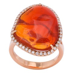 Fire Opal Gold Diamond Ring