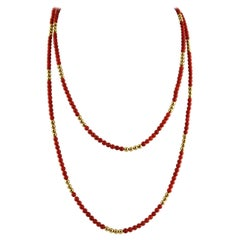 Long Beaded Coral Necklace and 18 Karat Yellow Gold Spheres