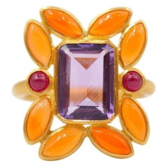 Scrives Amethyst Cornaline Ruby 22 Karat Gold Cocktail Ring