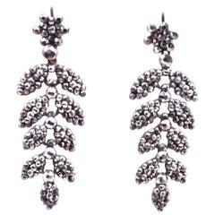 Cut Steel Leaf Form Earrings, circa 1830