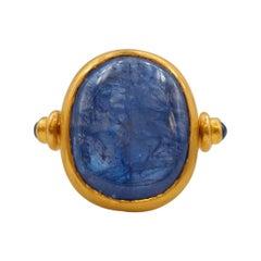 Scrives 15.43 Carat Natural Blue Sapphire Cabochon 22 Karat Gold Turning Ring