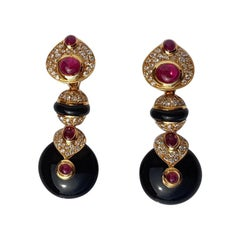 Fratelli Piccini Florence Ruby Onyx and Diamonds  Clip Earrings