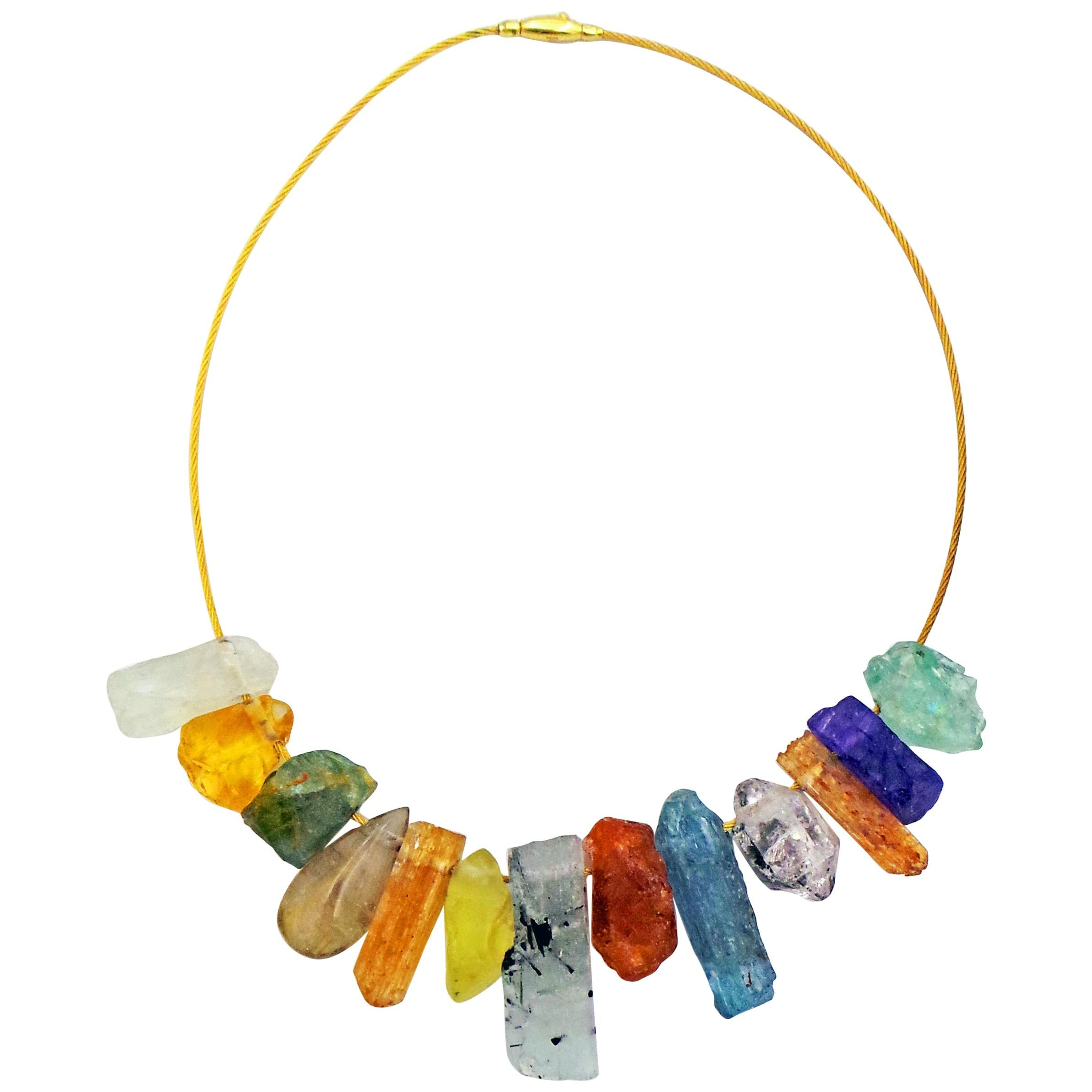 Multi-Gemstone Rough Crystal Statement Necklace