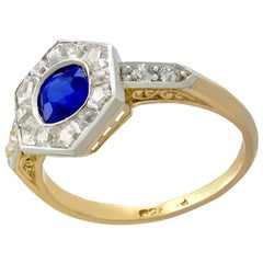 Antique French Sapphire and Diamond Yellow Gold Dress Ring