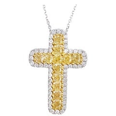 DiamondTown 1.64 Carat Natural Yellow and White Diamond Cross Pendant