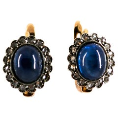 7.40 Carat Blue Sapphire White Rose Cut Diamond Yellow Gold Lever-Back Earrings