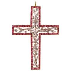 Victorian Ruby Diamond Cross, circa 1850