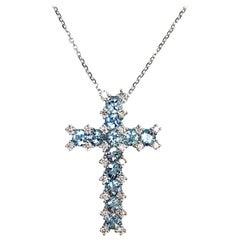 1.22 Carat Aquamarine and Diamond Cross Pendant in 18 Karat White Gold